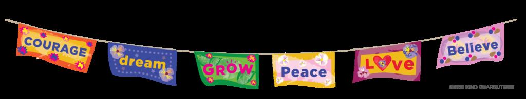 Brie Kind Prayer Flags Illustration